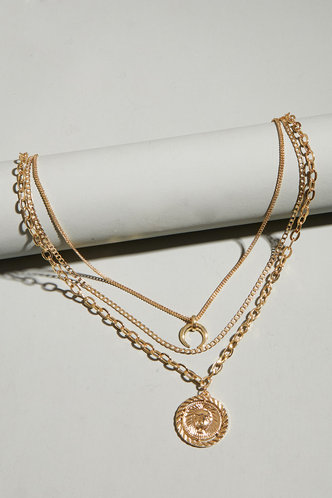 front_Jessie Elsa Gold Coin Pendant Layered Necklace