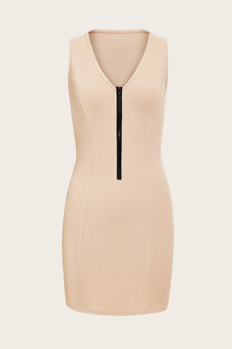 back_Charlotte Marsaus Beige Zipper Bodycon Dress
