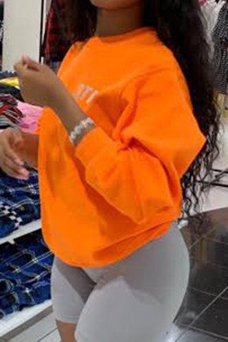 back_Vacation Street Crew Neck Letter  Orange Sweatshirts & Hoodies
