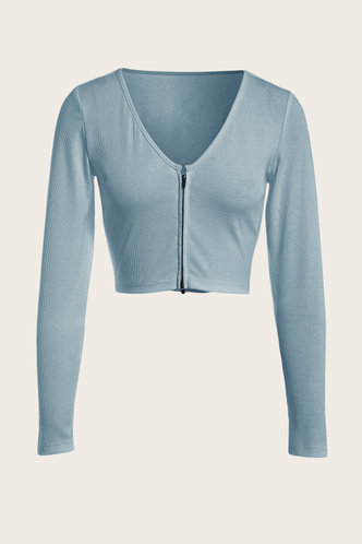 front_Long Sleeve Round Neck Baby Blue Tees
