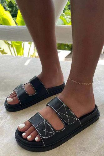 back_Leilani Eudora Black Slide Sandals