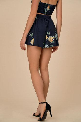 back_Blooming Dark Navy Floral Print Shorts