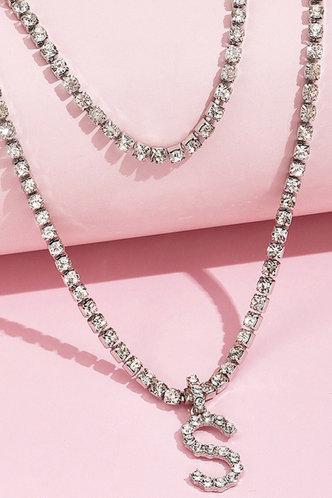 back_Nicola Elva Silver Rhinestone Charm Necklace