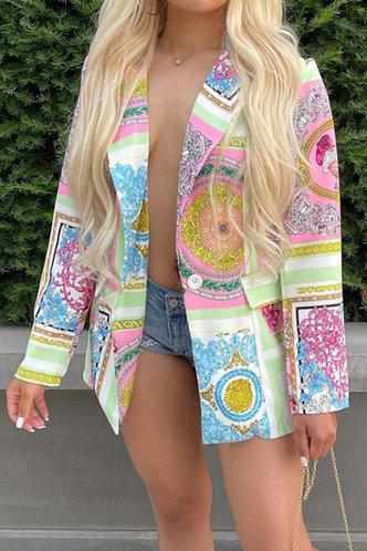 front_V-Neck    Button No special process Baroque Print Outerwear