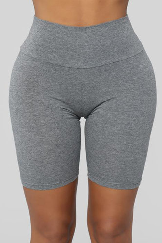 front_Agatha Elizabeth Light Grey Biker Shorts