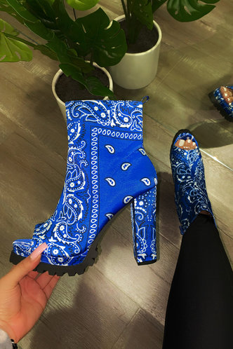 back_All Over Print High Heel Round Toe Blue Paisley Print Boots
