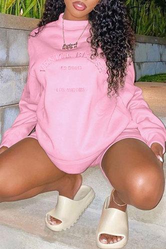 front_Casual Crew Neck Letter Print  Pink Sweatshirts & Hoodies