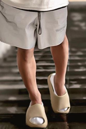 back_Plain Open Toe Beige Men Slides & Flip Flops