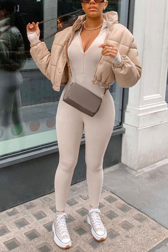front_Street Solid Color   Khaki Jumpsuits