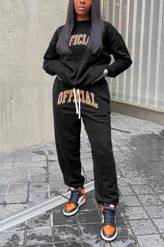 front_Letter Print Pullover Black Pants Sets