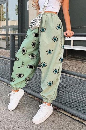 front_Winnie Elsa Green Cartoon Eye Print Sweatpants
