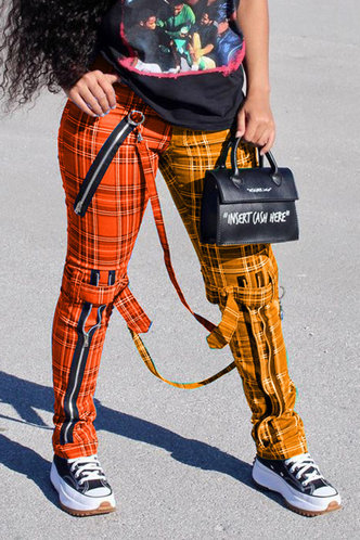 front_Mid Waist Plaid Pencil Pants Yellow And Red Plaid Pants