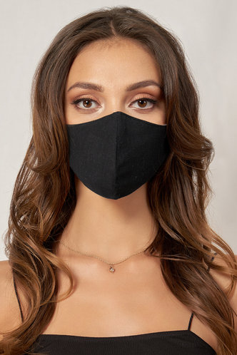 front_Non-medical Solid Color Cotton Reusable Face Mask Black