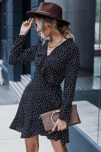 front_Go Figure Black Polka Dot Dress