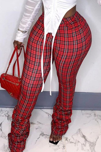 front_Mid Waist Plaid Stacked Red Plaid Plus Size Pants