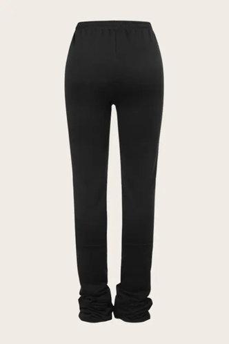 back_Mid Waist Jogger Pants Black Pants