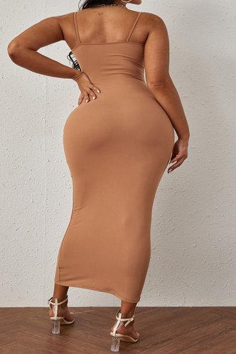 back_Shera Elvira Khaki Plus Bodycon Dress