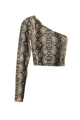 front_Carefree Living Yellow Snake Print One Shoulder Top