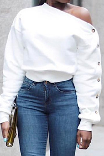 front_Sexy Off the Shoulder Plain White Sweatshirts & Hoodies