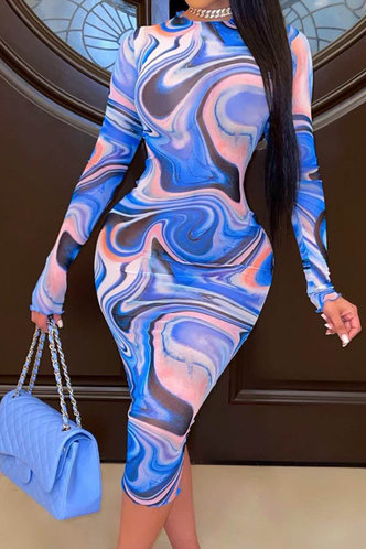 front_Shopping Vacation Long Sleeve Crew Neck Blue Wave Print Tie Dye Dresses