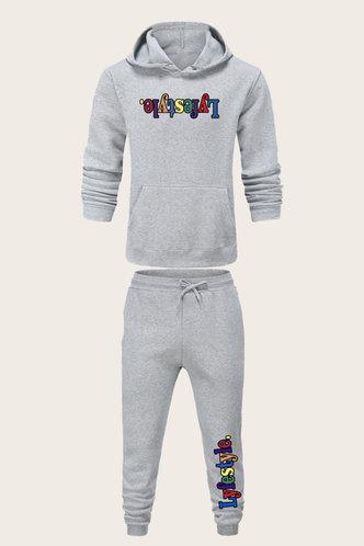 back_Casual Letter Light Grey Men Pants Sets