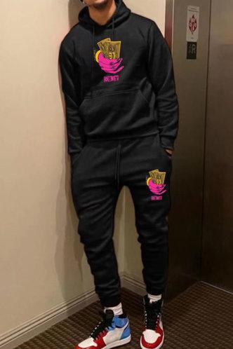 back_Preppy Black Men Pants Sets