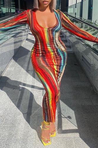 back_Tie Dye Casual Vacation Street Regular Sleeve Red Tie Dye Plus Size Dresses