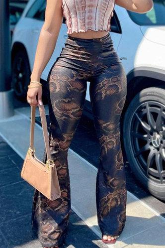 front_High Waist Flare Leg Snakeskin Print Pants