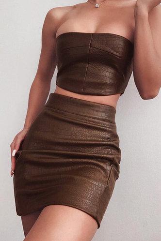 back_Sleeveless Pullover Coffee Skirt Sets