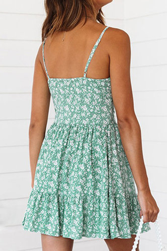 back_Jennifer Eartha Green Floral Print Button Front Dress