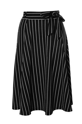 front_Coastal Breeze Black Striped Midi Skirt