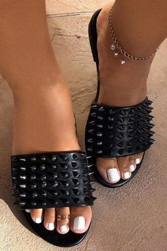 back_Arabel Erica Black Eyelet Decor Slide Sandals