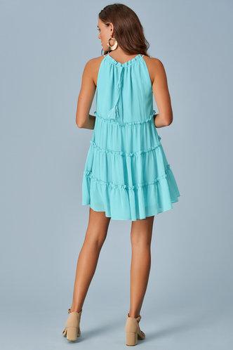 back_Ocean Breeze Caribbean Blue Mini Dress