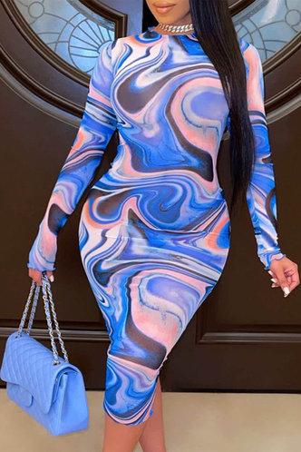 front_Sexy Bodycon Blue Wave Print Plus Size Dress