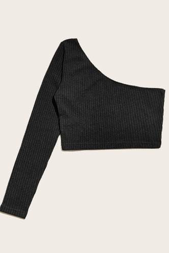 back_Shoulder Shrug Black One Shoulder Ribbed Crop Top