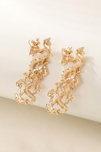front_Fanny Jablich Gold Chinese Dragon Design Drop Earring 1pair