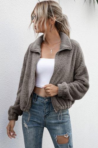 front_Determination Grey Teddy Jacket