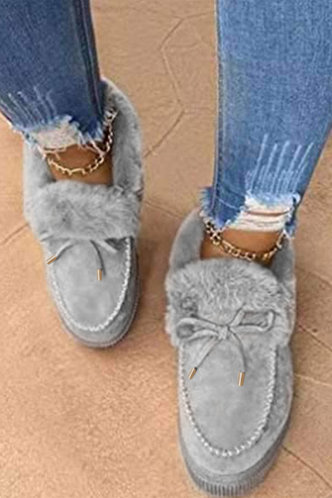 back_Plain Flat Round Toe Grey Boots