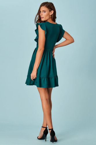 back_Ruffle Love Emerald Mini Dress