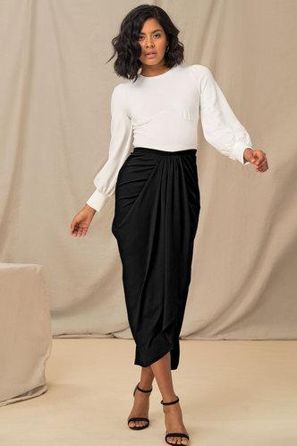 front_Feeling Sassy Black Draped Skirt