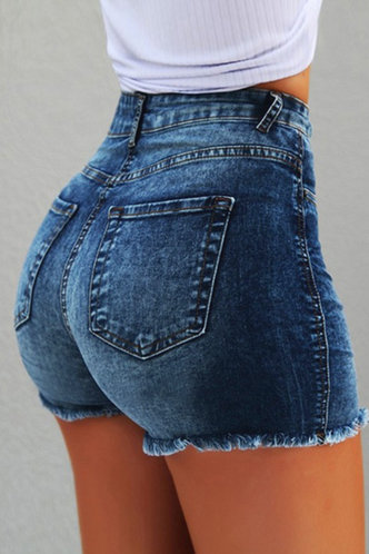 front_Myrna Eartha Blue Denim Shorts