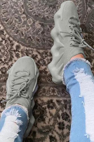 front_Low Heel Round Toe Light Grey Sneakers