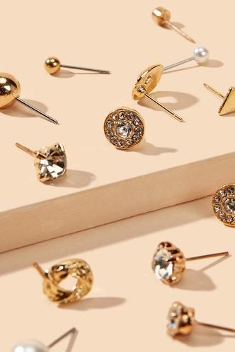 back_Ruby Elaine Gold Rhinestone & Faux Pearl Decor Earrings 12pairs