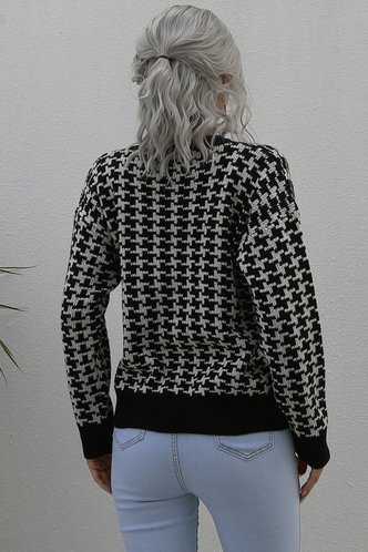back_Love for Love Black Houndstooth Sweater