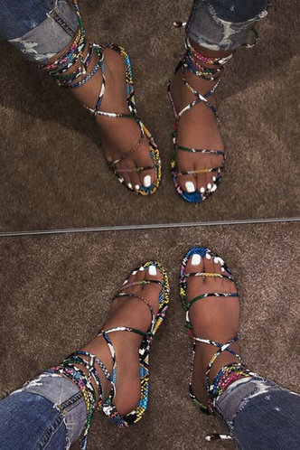 front_Gabrielle Lamris Snakeskin Print Slide Sandals