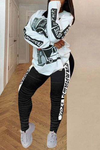 back_All Over Print Pullover Black And White Pants Sets