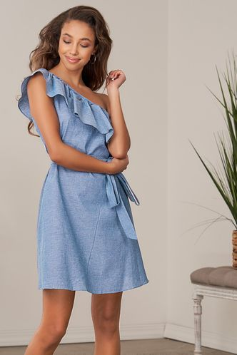 front_Something Real Blue Chambray Mini Dress