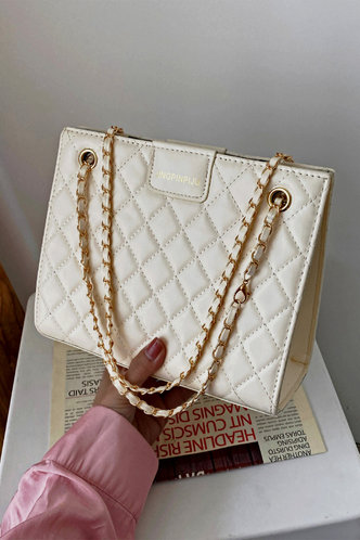 front_Solid Color Chain White Shoulder Bags