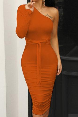 front_Plain  Orange Maxi Dresses