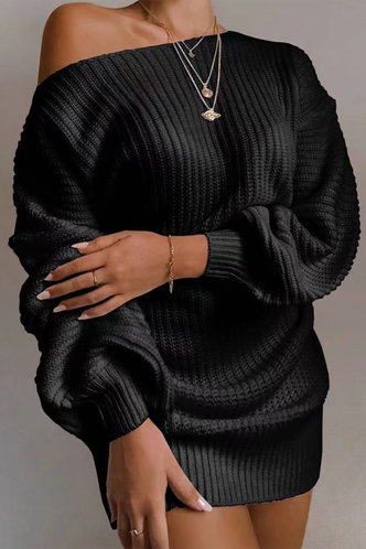 front_Asymmetrical Neck Solid Color Dropped Shoulder Black Sweaters